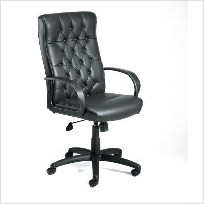 High-back tufted executive chair tilt tension control