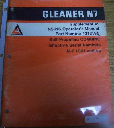 Allis chalmers gleaner n7 combine suppoperators manual publicscrutiny Images