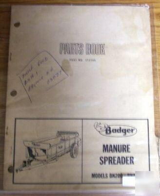 Badger Bn200 Bn240 Manure Spreader Parts Catalog Manual