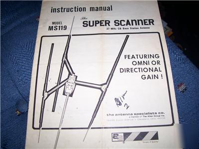 Antenna specialists super scanner instruction manual