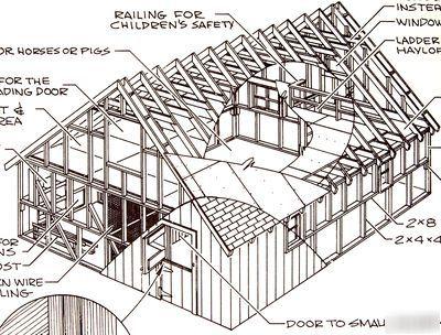 Farm Barn Building Livestock Garden Sheds Plans Book