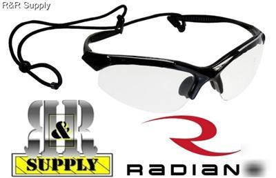 Radians infinity clear lens safety glasses w/ neck cord