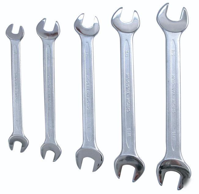 5 Pc Thin Pattern Metric Open End Wrench Set