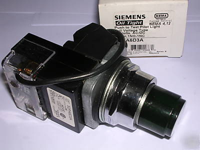 New siemens 24 volt, push to test pilot light, 52PA6D3A